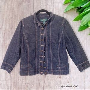 Ralph Lauren Dark Wash Button Up Jean Jacket; L